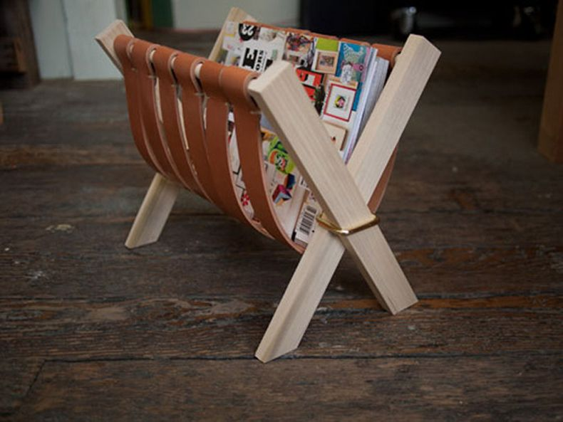 Brown Leather Magazine Rack