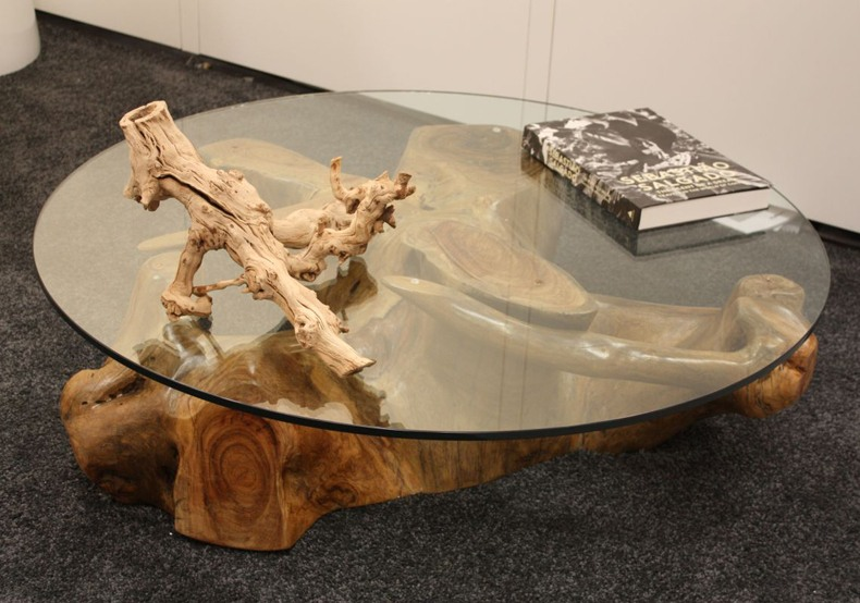 Wood Tree Base With Glass Top Coffee Table