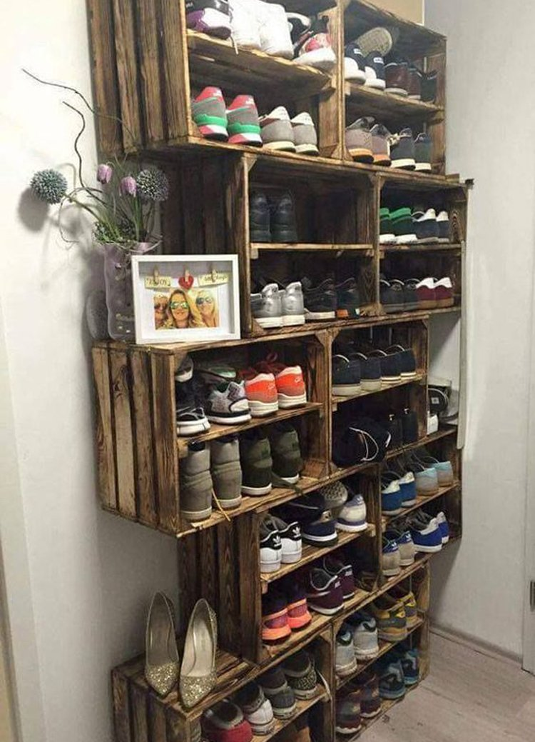 Wooden Crate Shoe Storage