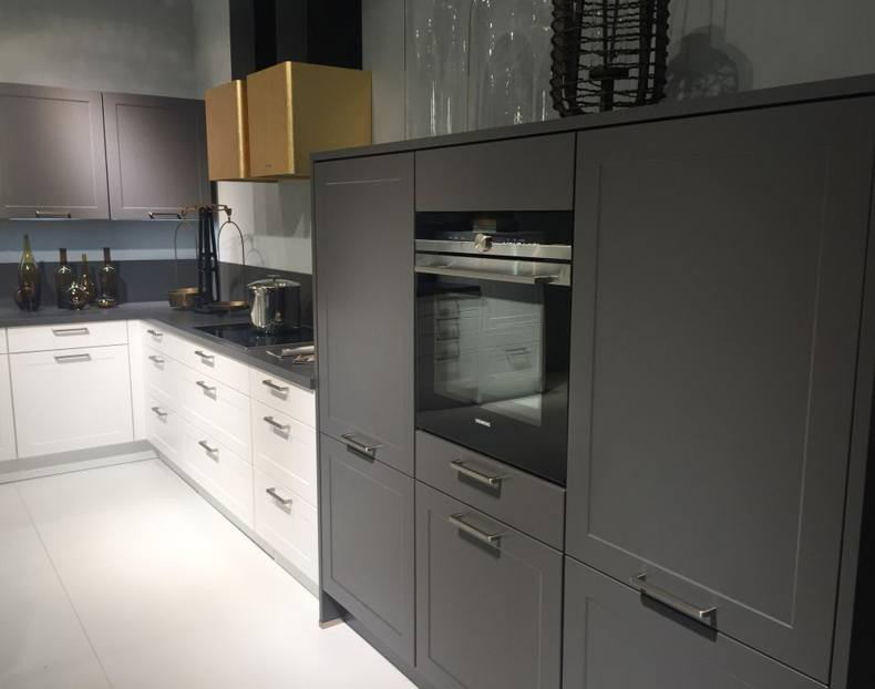 White and Dark Grey Kitchen Cabinets