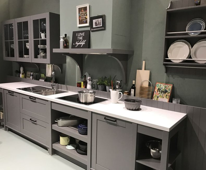 Grey Kitchen Cabinets With Glass Doors