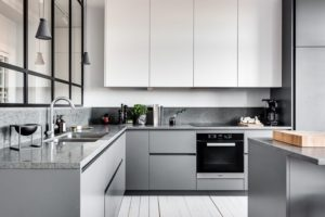 Lower Kitchen Cabinets In Grey