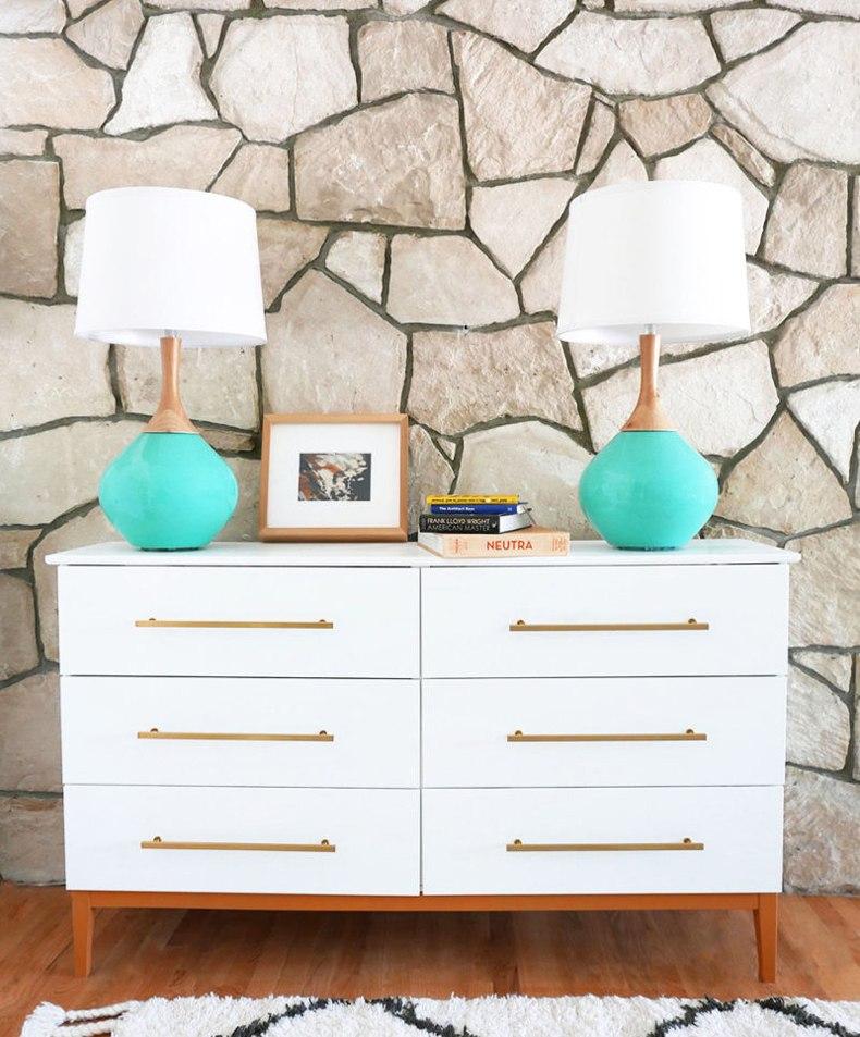 White and Wood Mid Century Dresser