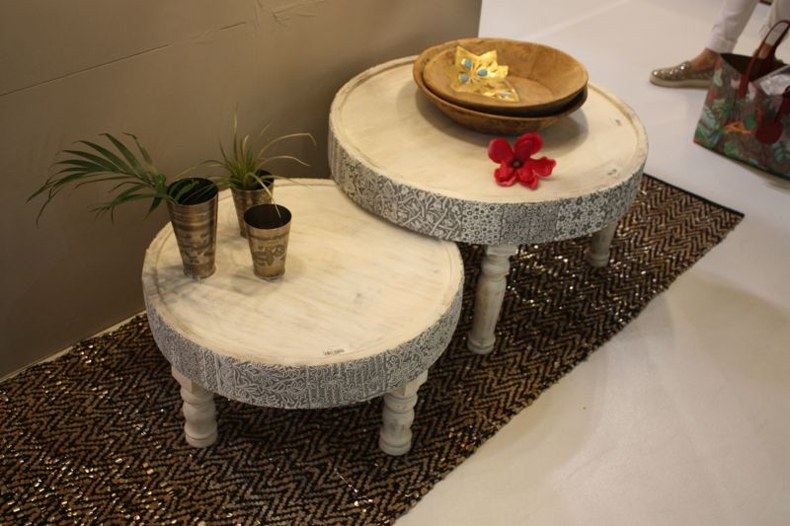 White Washed Rustic Wood Coffee Table
