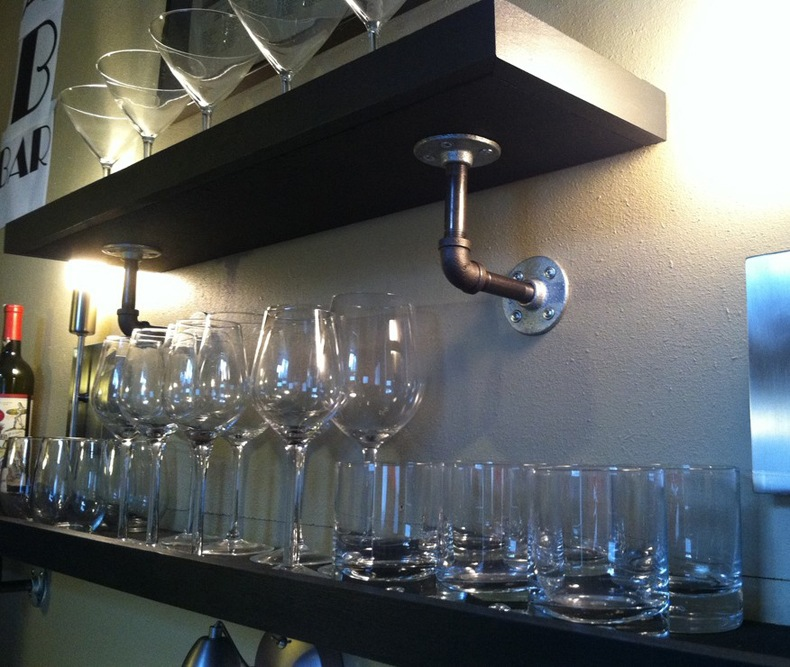 Bar Shelf With Pipes Brackets