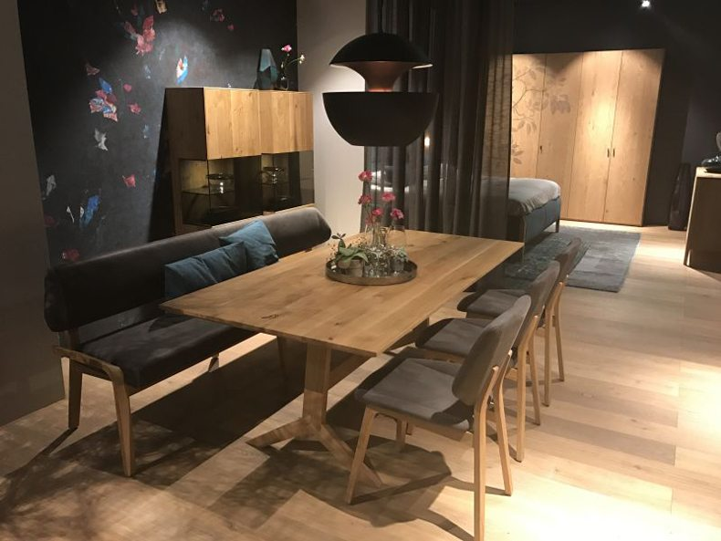 Dining Room With Large Wood Table Featuring Chairs And Banquette Seating – Bench