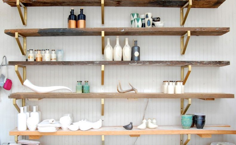 Wall shelf gold brackets are important and have a great influence on a shelf design.