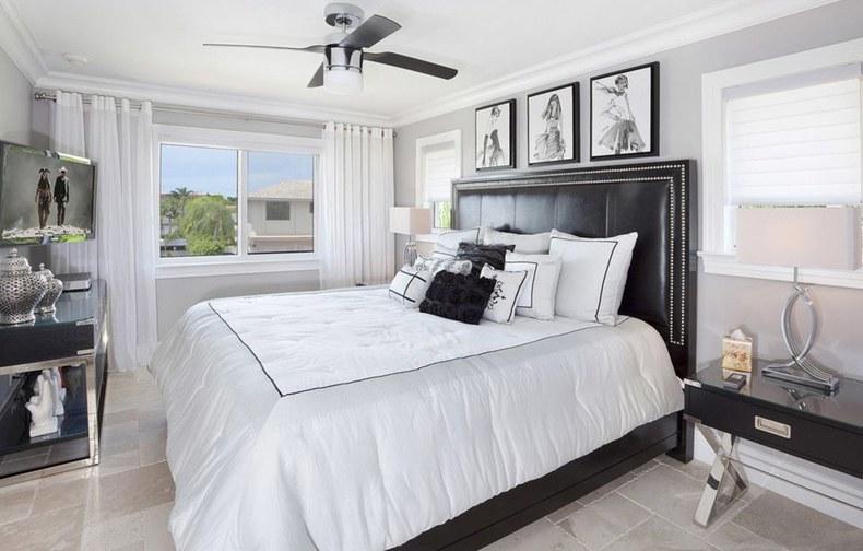 Light Grey Bedroom Black Headboardn And Furniture