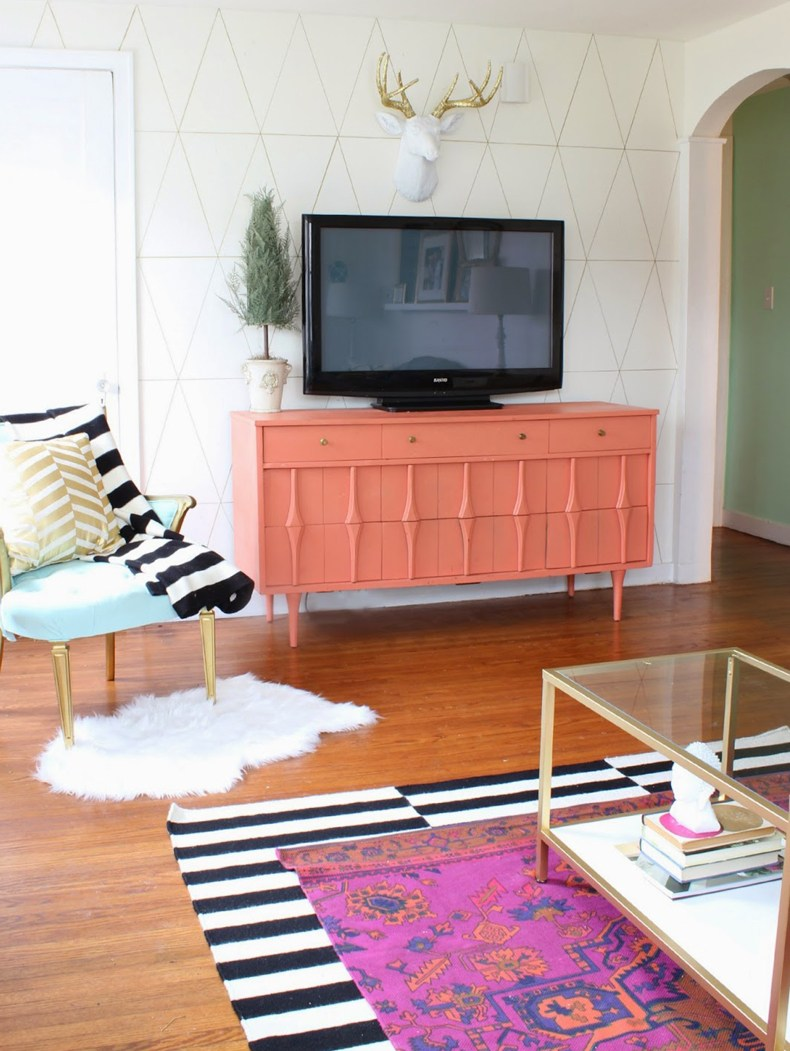 Pink Painted Credenza