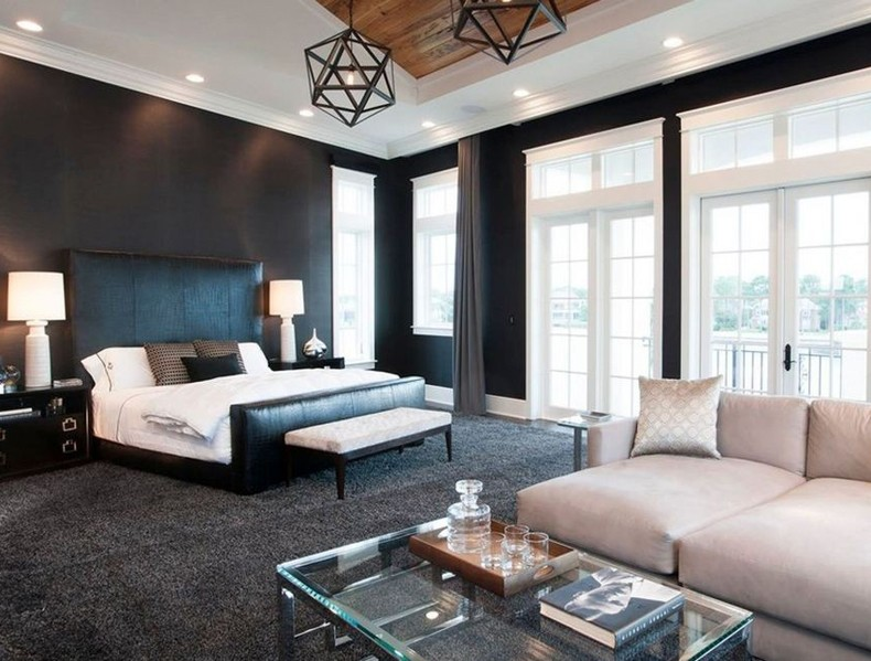 Place The Bedroom In Angle Black Headboard