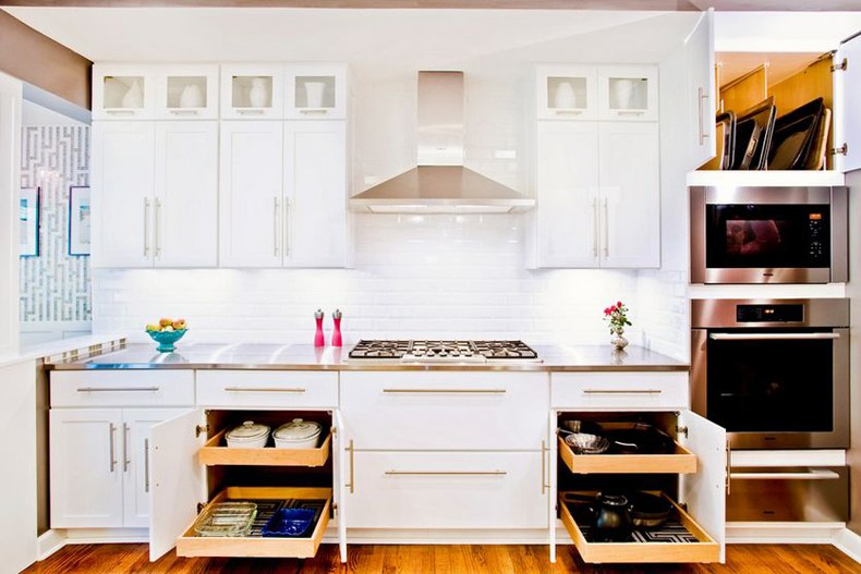 Slide out kitchen shelves may transform into deeper ones or into drawers.