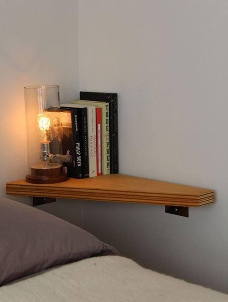 Corner Nightstand Shelf