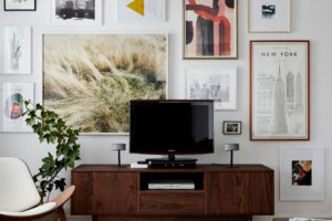 Wood TV Console Credenza