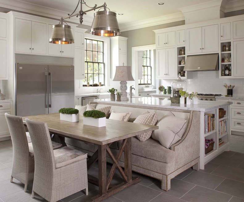 The decor is completed by lightweight and slick chairs, and with cozy kitchen island bench seating.