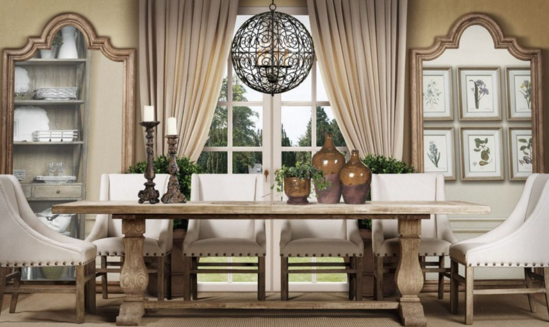 Farmhouse Dining Room Design With Trestle Table