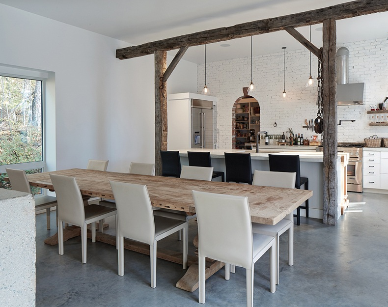 Dining Table With Cream Leather Chairs