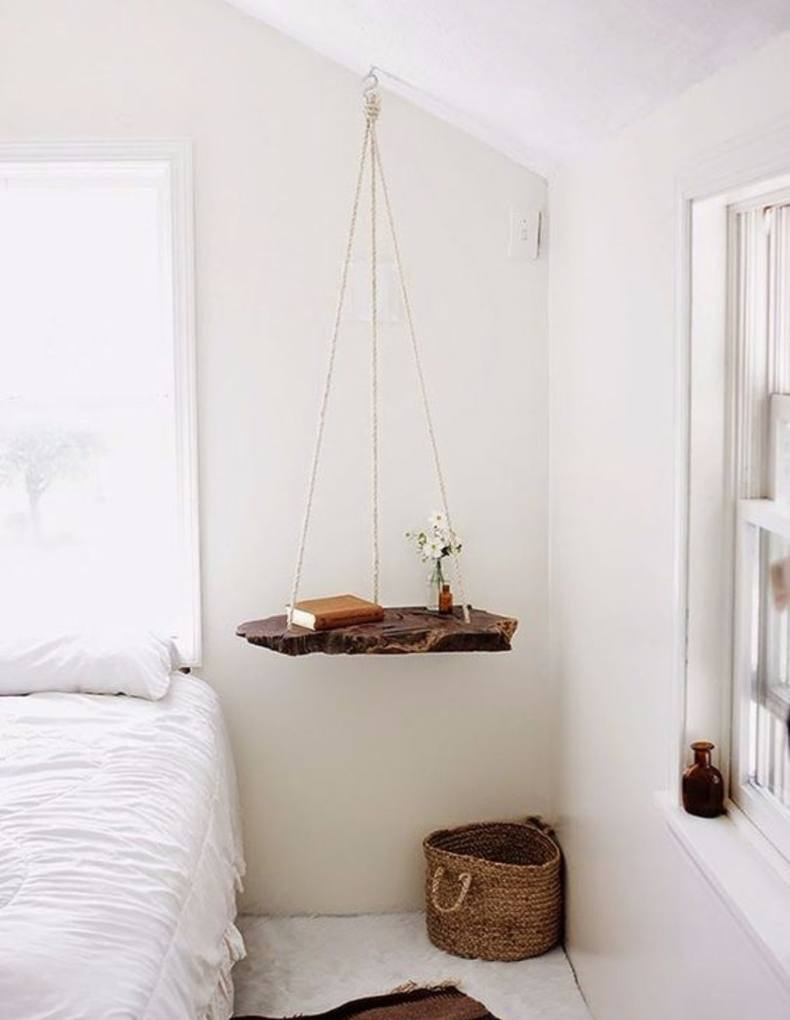 Ceiling Hanging Rope Nightstand