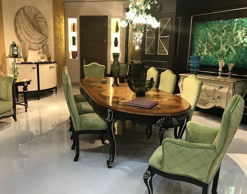 Green Baroque Upholstered Dining Chairs and Solid Mahonn Table