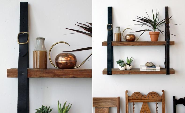 Leather Strap Hanging Shelf