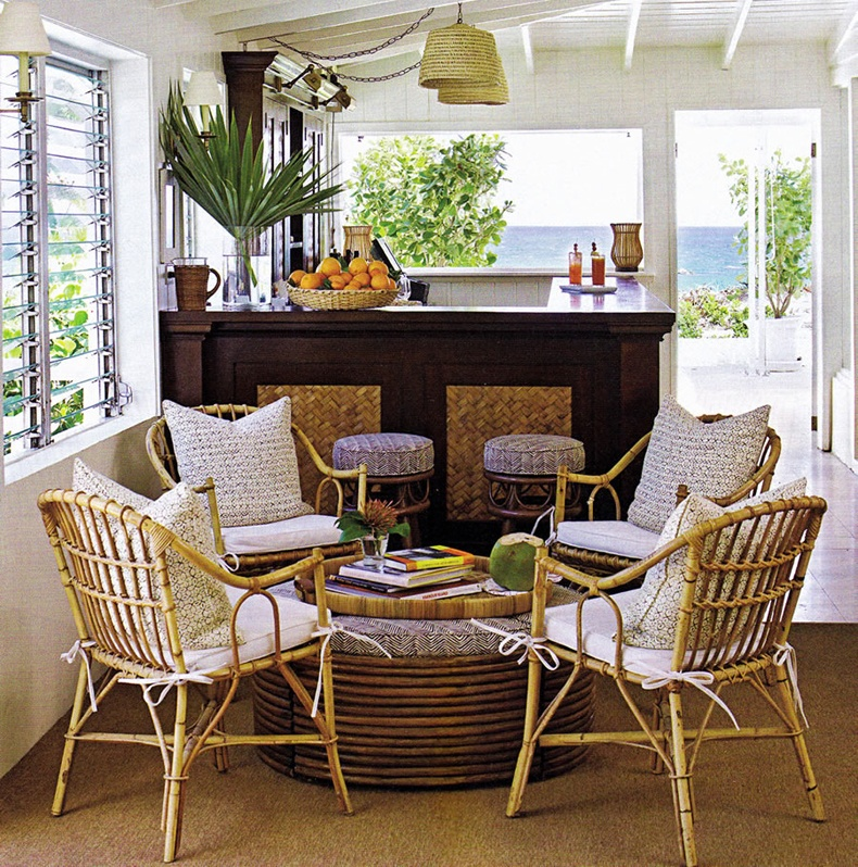 Sunroom Furnishing Ideas Using Bamboo Armchairs And Rounded Bamboo Tables