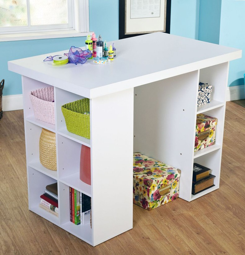 White Craft Table With Storage