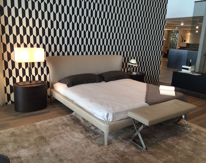 Black And White Modern Pattern Wallpaper And Light Grey Shade Bed Frame