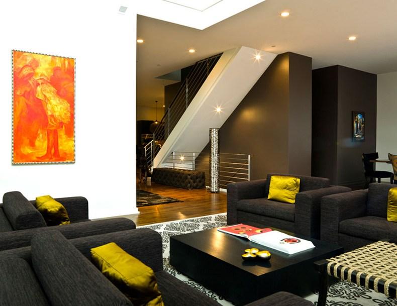Black Yellow Living Room