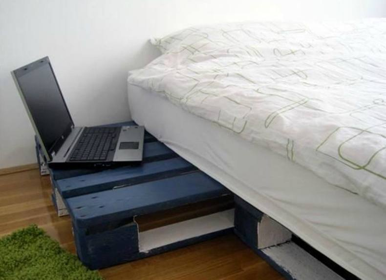 Blue Night Stand Pallet Bed Frame