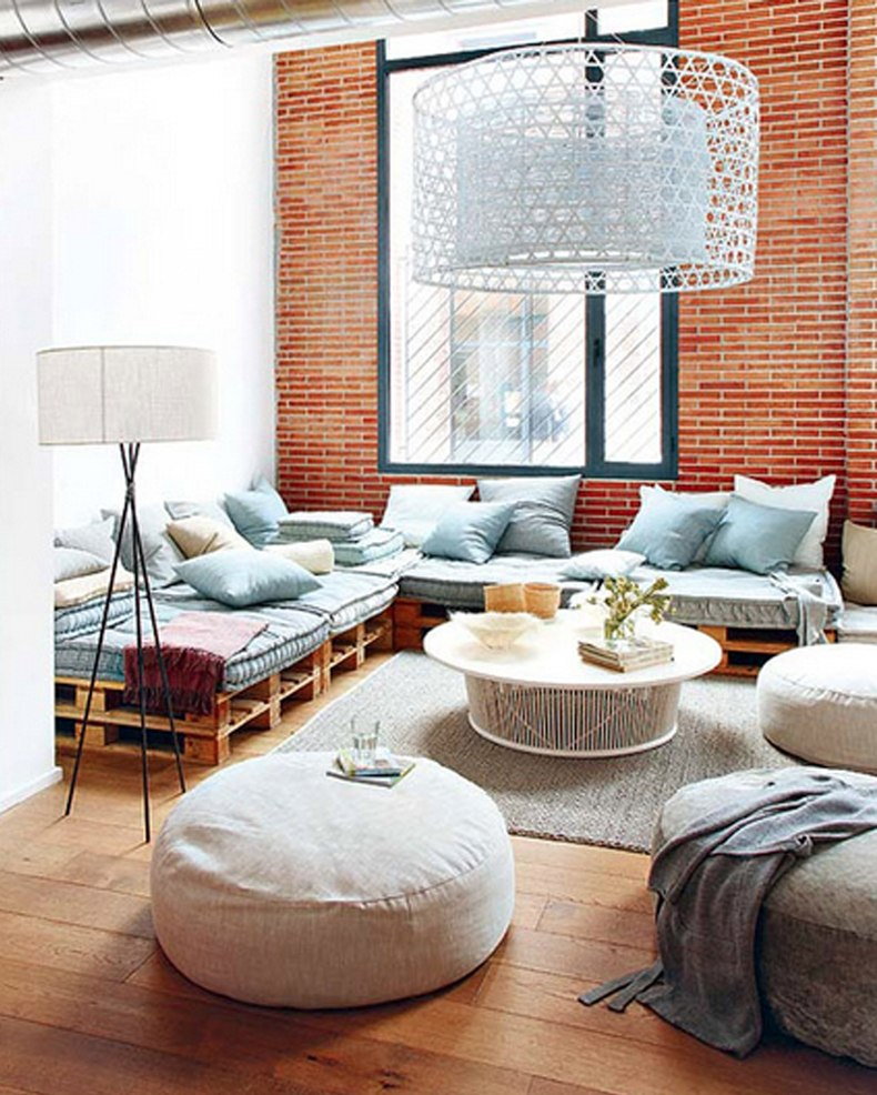 Frame for the bricks sofa, sectional and built-in side tables – are all great ideas for your living room.