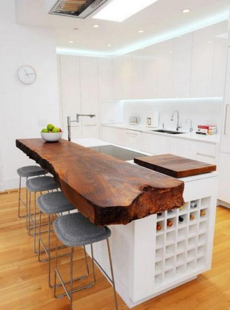 Live edge island countertop is a great option.