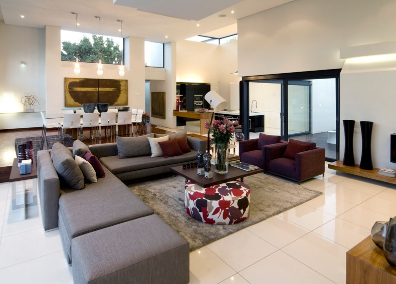 Modern Large Living Room White Floor