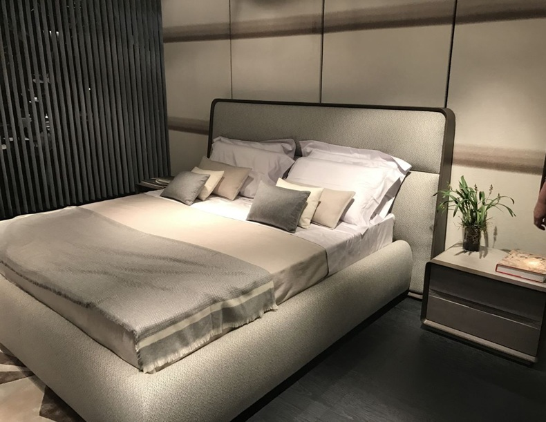 Modern Light Grey Bed Frame With Nighstands