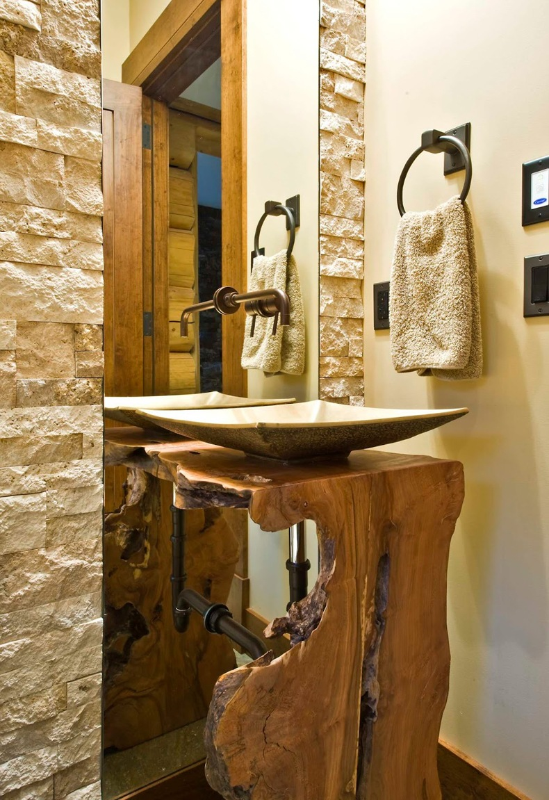 Rustic Tree Pedestal Sink