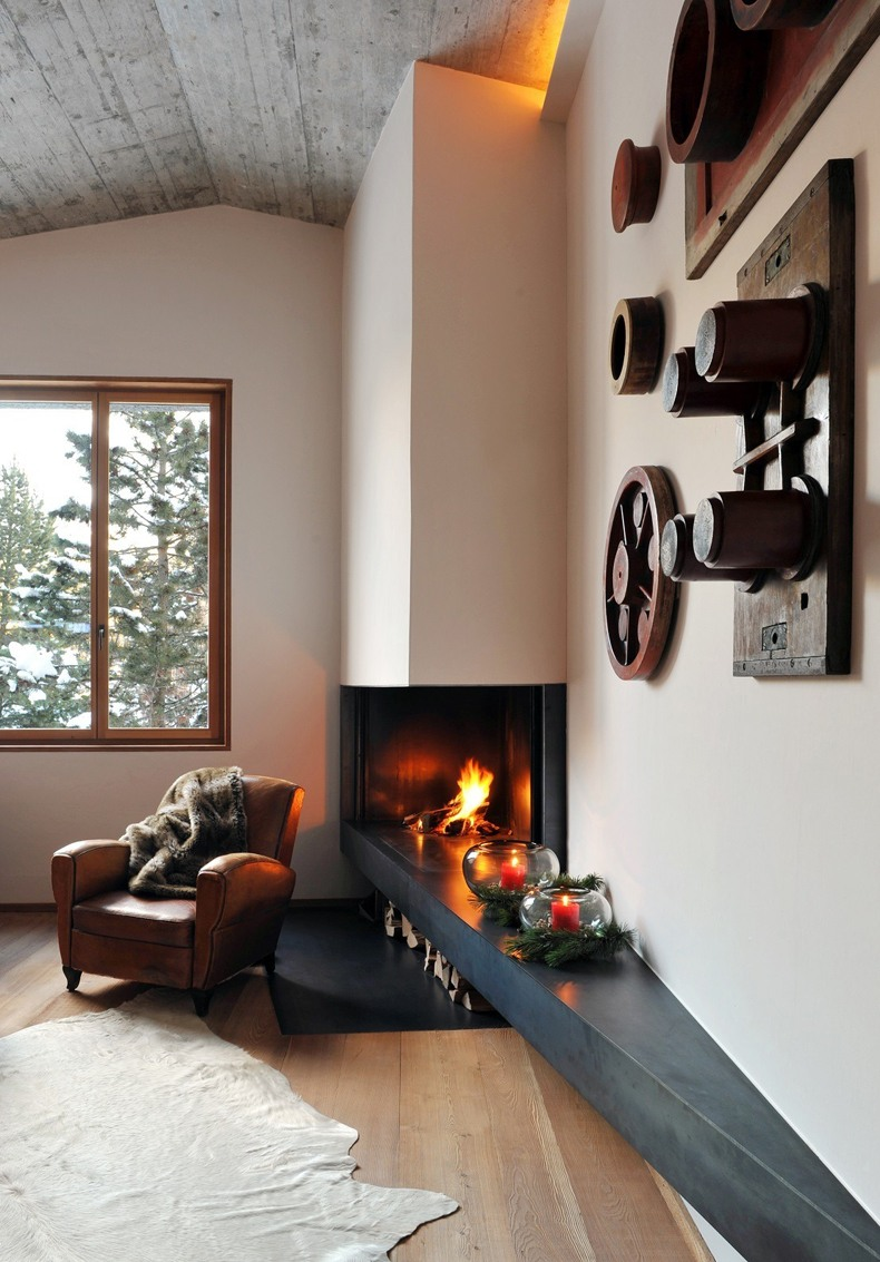 Corner Modern Fireplace Design Ideas