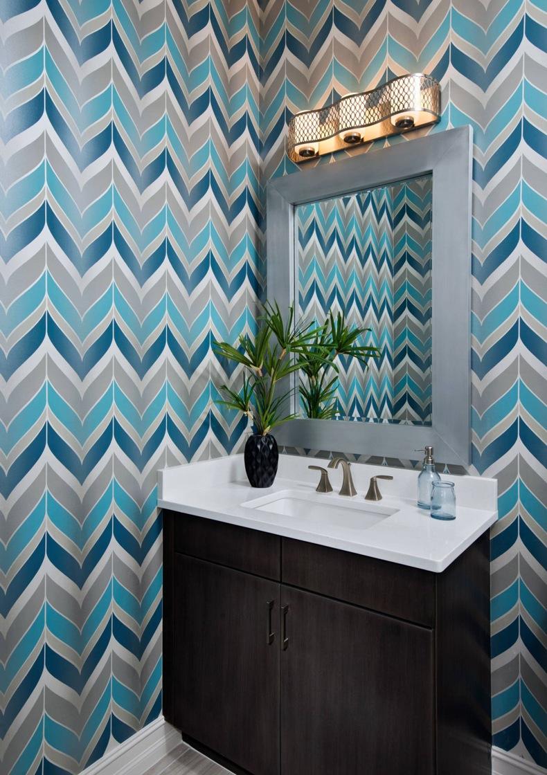 Contemporary Bathroom Multicolor Chevron Wallpaper