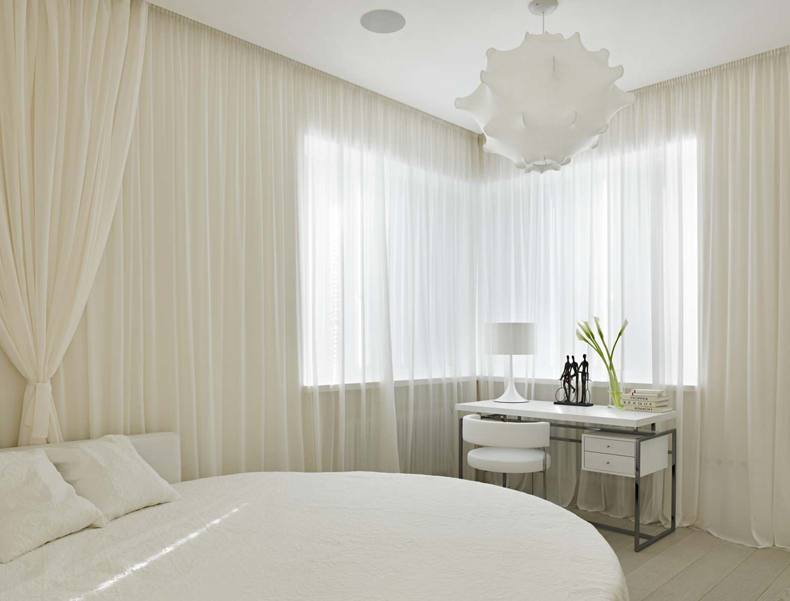 Contemporary Bedroom Curtain Wrapped Bed