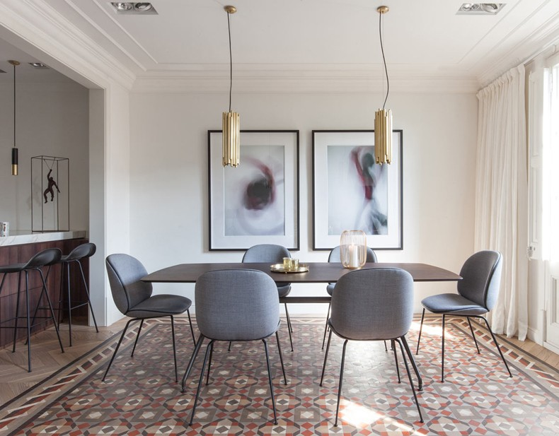 Contemporary Dining Room With Abstract Wall Art