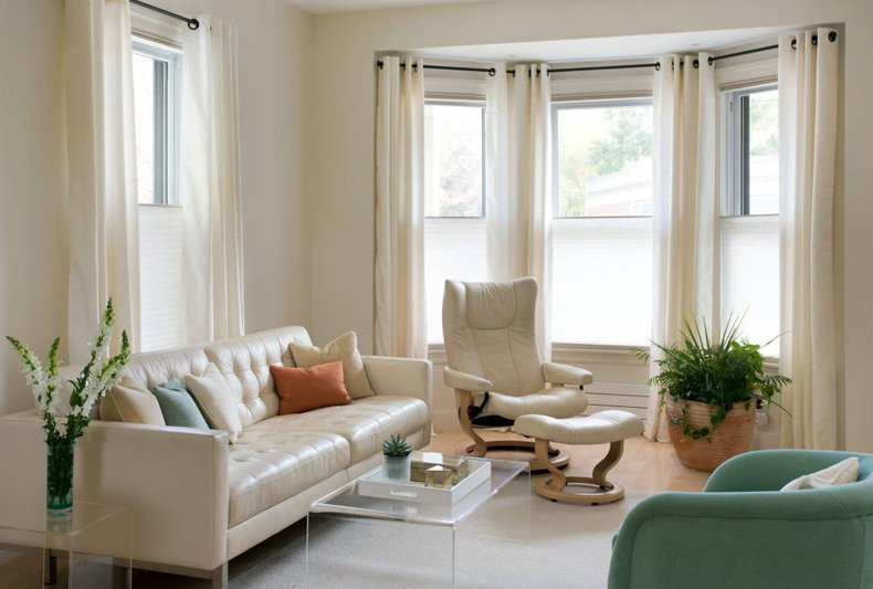 Contemporary Small Living Room With Bay Window