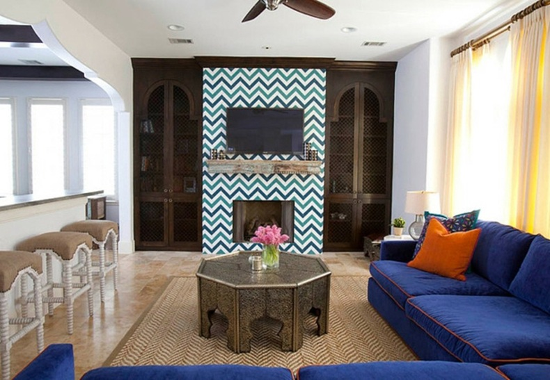 Eclectic Living Room Multicolor Statement Wallpaper