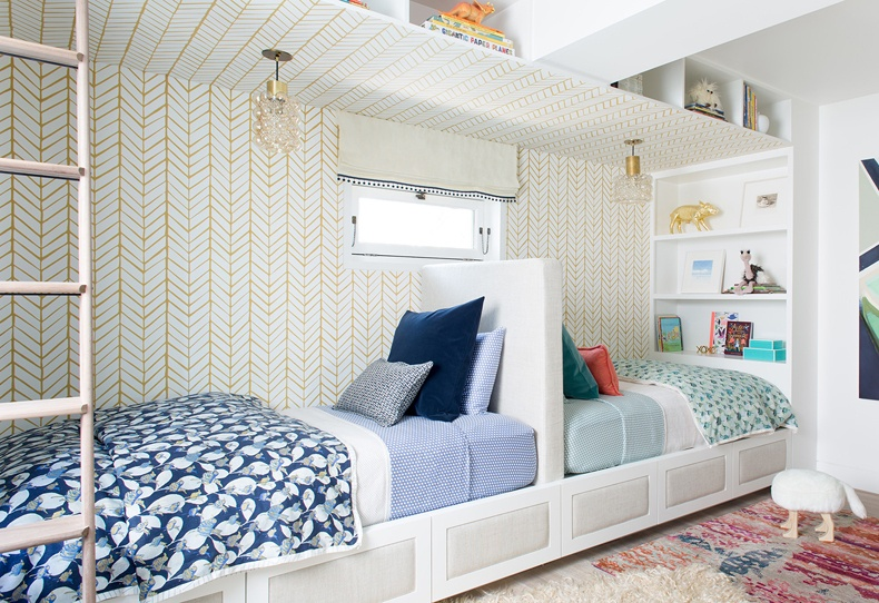 Kids Bedroom With Nad Drawn Chevron Walls