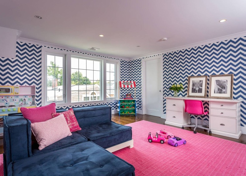 Kids Room With Chevron Wallpaper