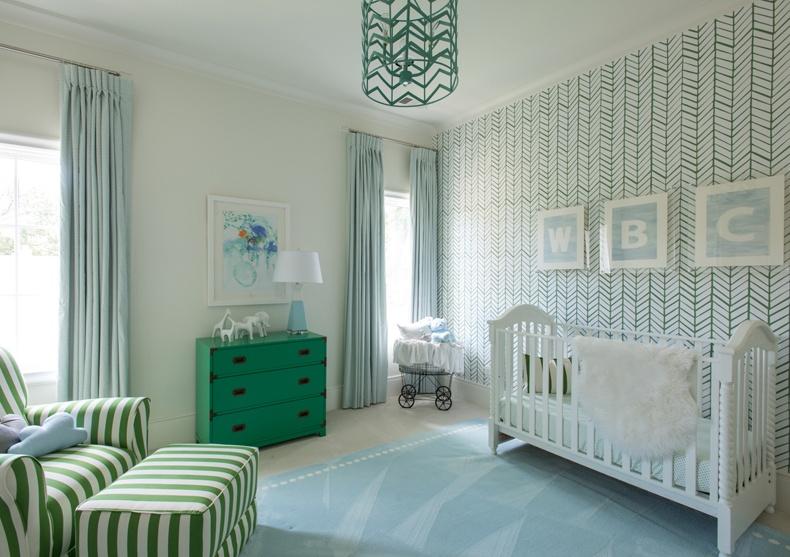 Nursery Room Tone Color With Chevron Wallpaper