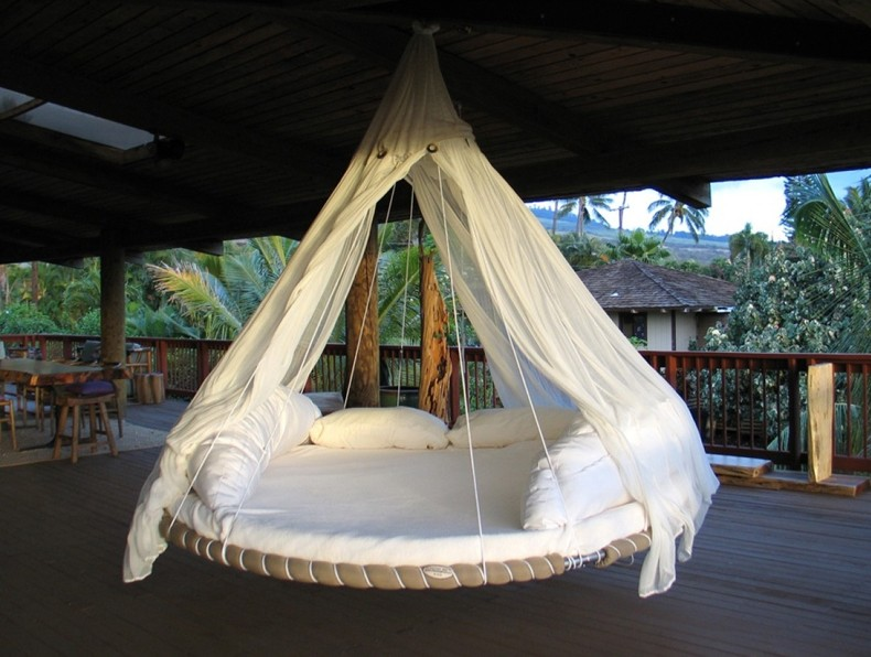 Round Bed Tropical Patio Lounging