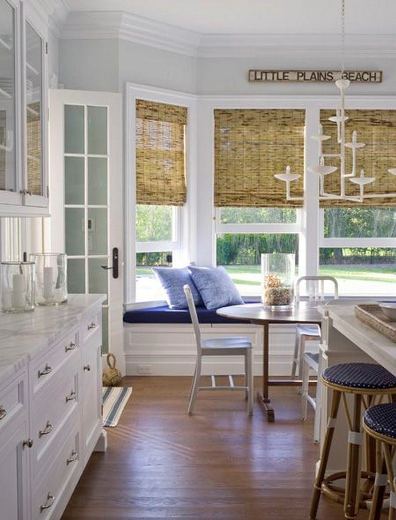 Traditional Bay Window Bamboo Shades