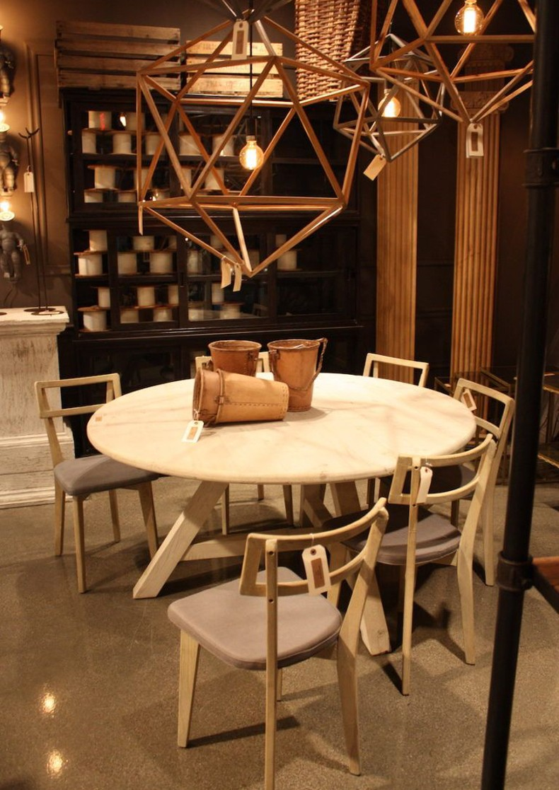 Bobo Rustic Dining Table and Lights