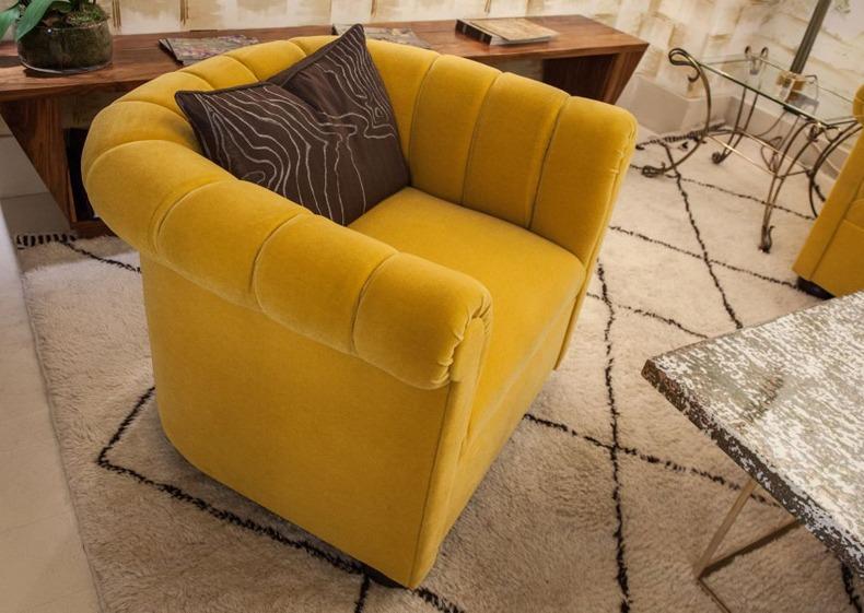 Velvet Yellow Armchair