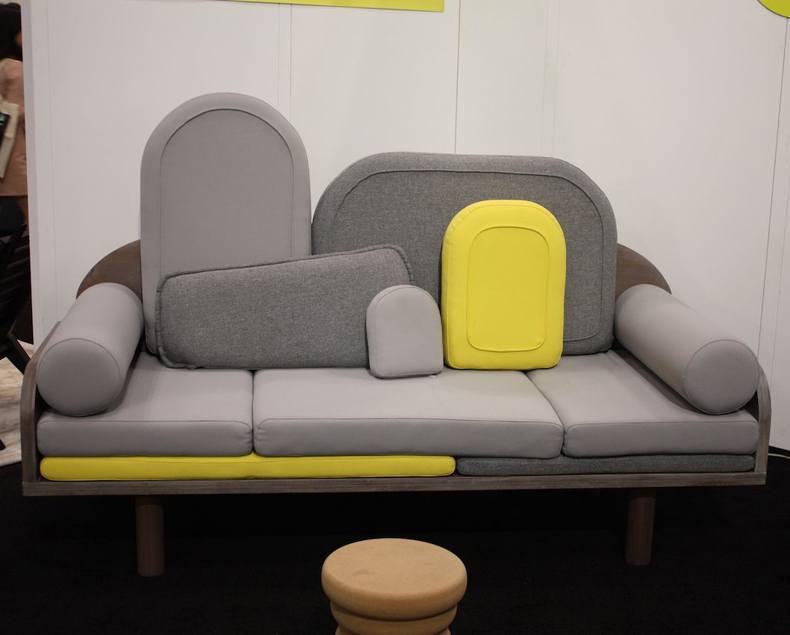 Gray Couch With Yellow Accents
