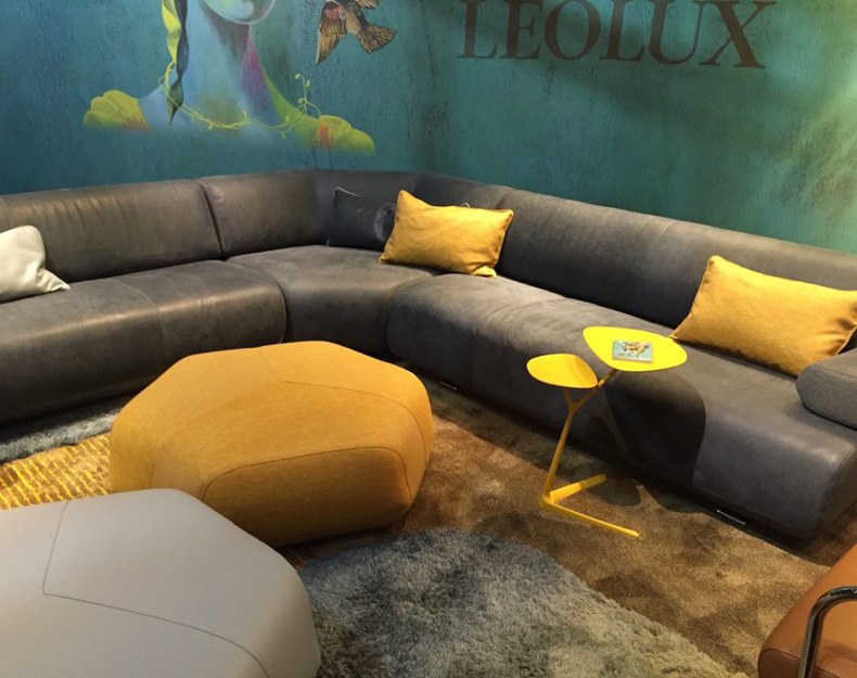 Side Table, Ottoman And Pillows On Yellow