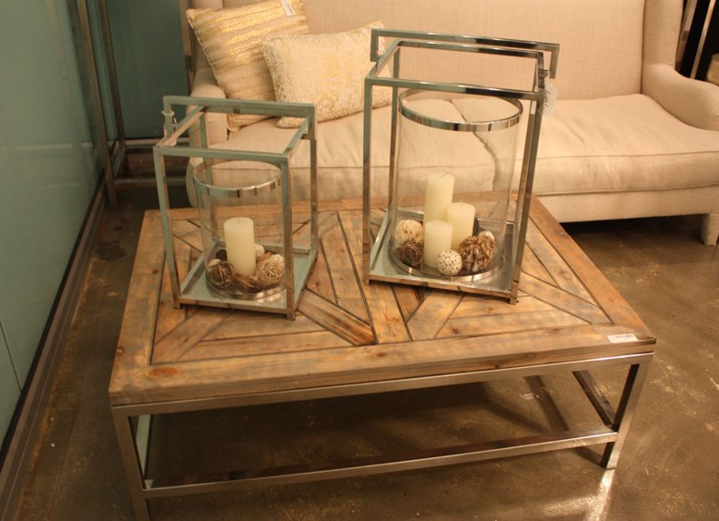 Square Chromed Base Rustic Top Coffee Table
