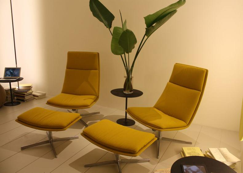 Swivel Yellow Chairs With Ottomn